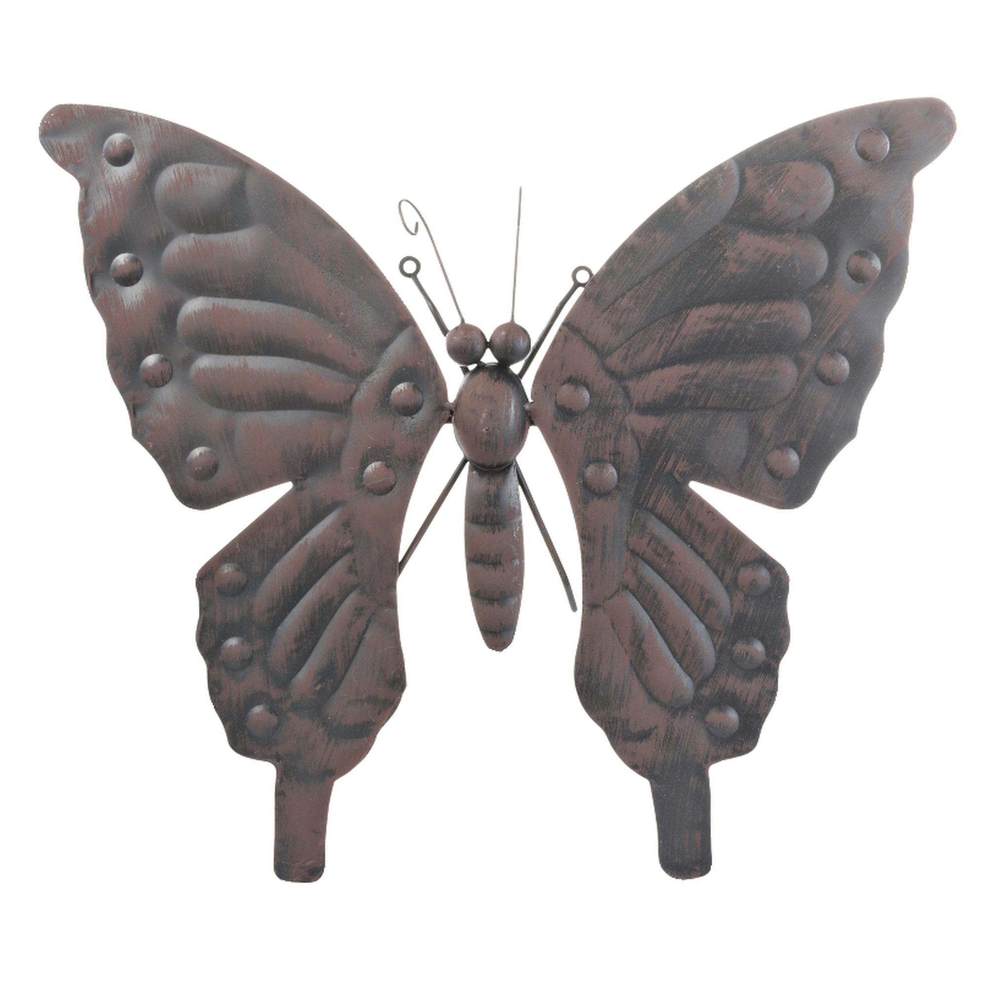 wanddecoratie vlinder middel metaal zwart tuindecoratie