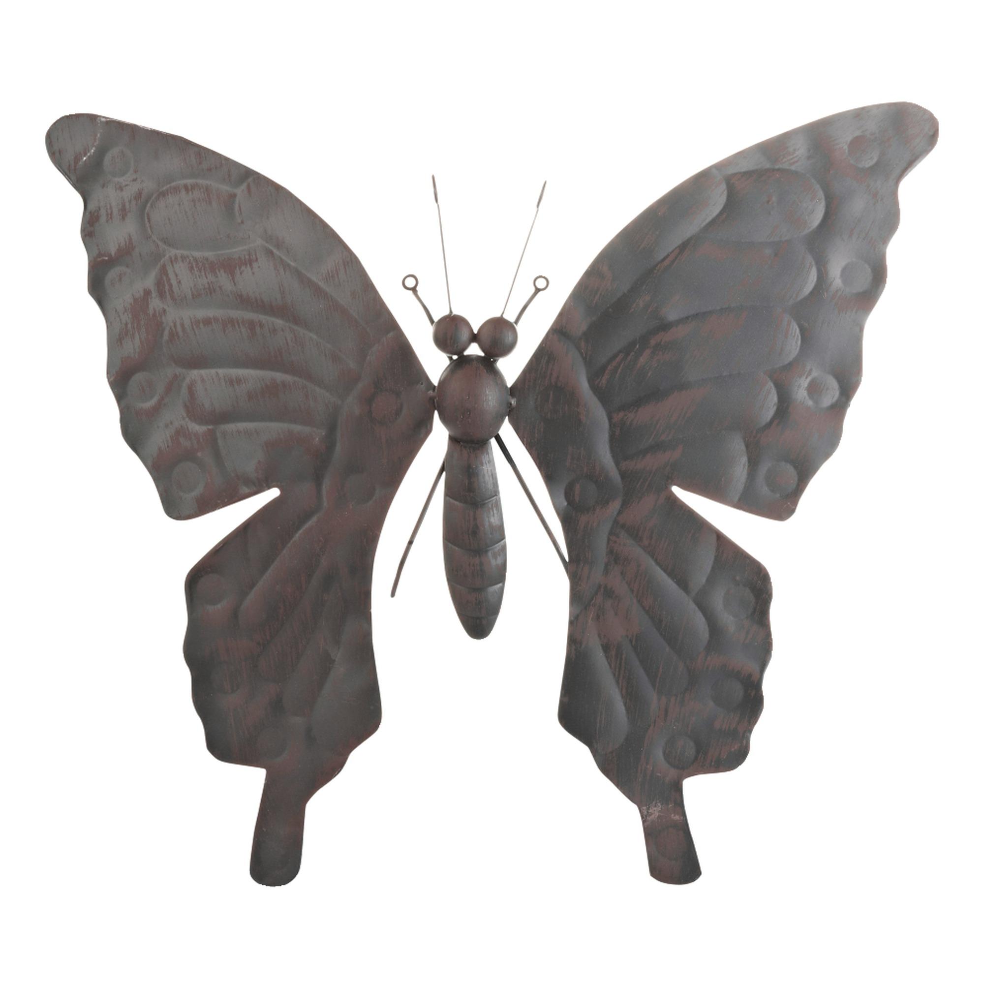 wanddecoratie vlinder groot metaal zwart tuindecoratie