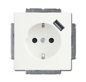 Busch-Jaeger wandcontactdoos inbouw  met USB wit